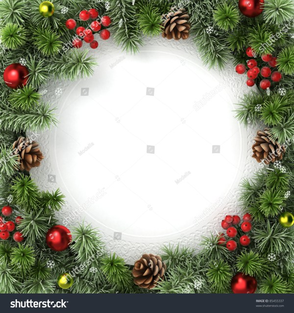 Border Frame Christmas Tree Branches Stock Illustration ...