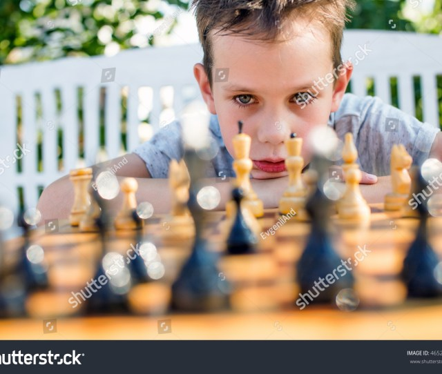Boy Thinking Hard On Chess Combinations Boy Playing Chess Outdoors Selective Focus