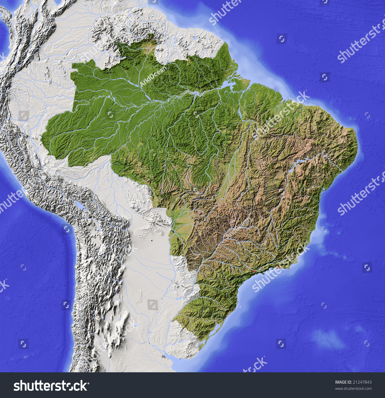 Brazil Shaded Relief Map Major Urban Stock Illustration