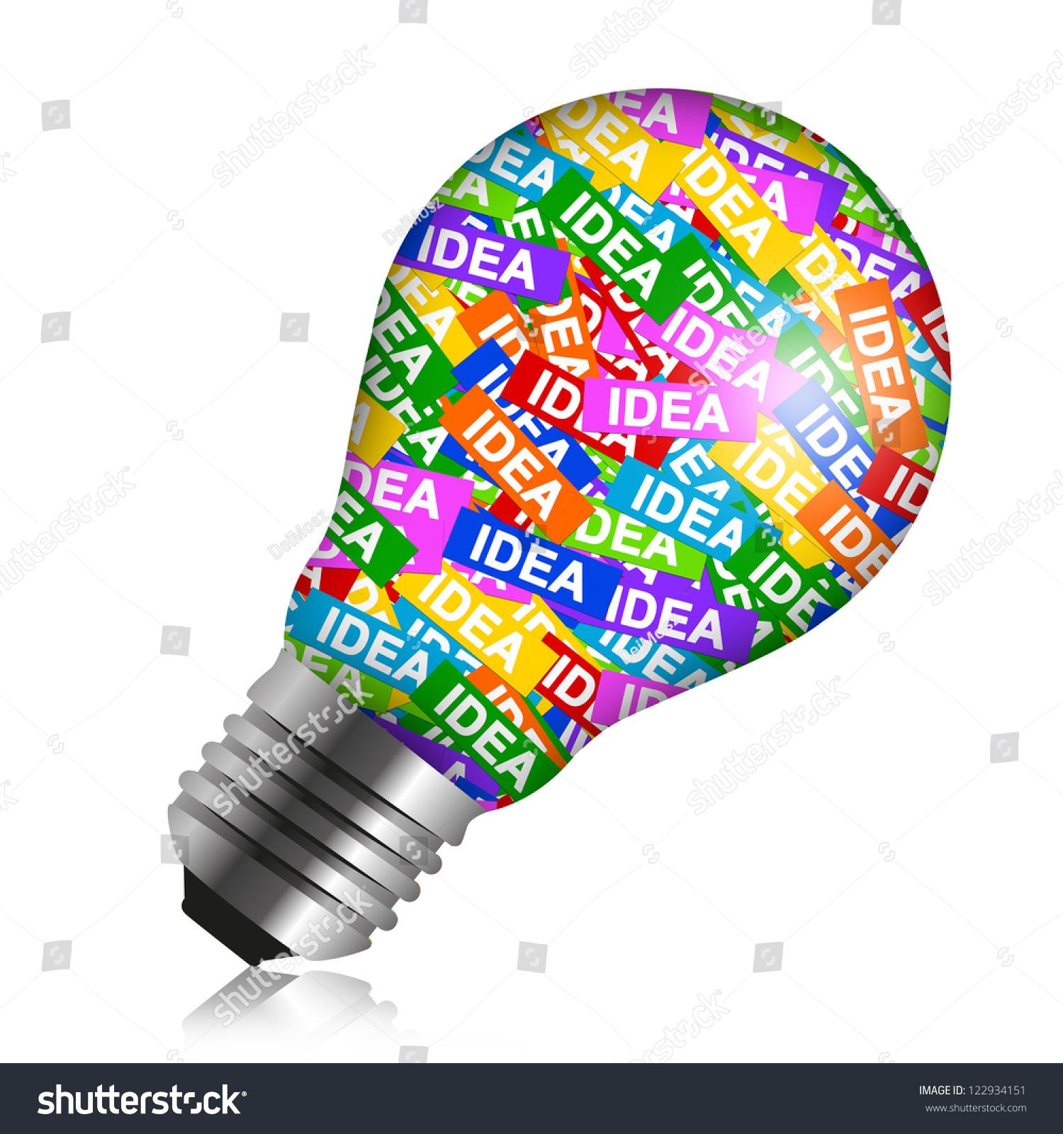 Business Idea Concept Present By Colorful Idea Label In