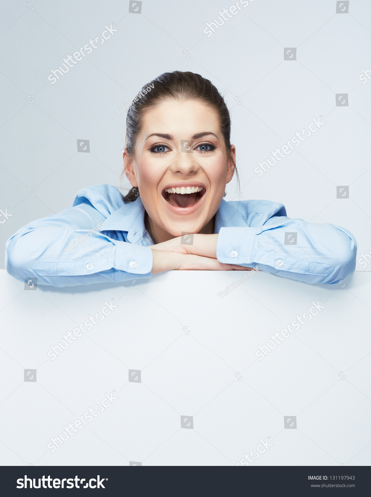Business Woman Isolated Portrait Smiling Woman Show Big