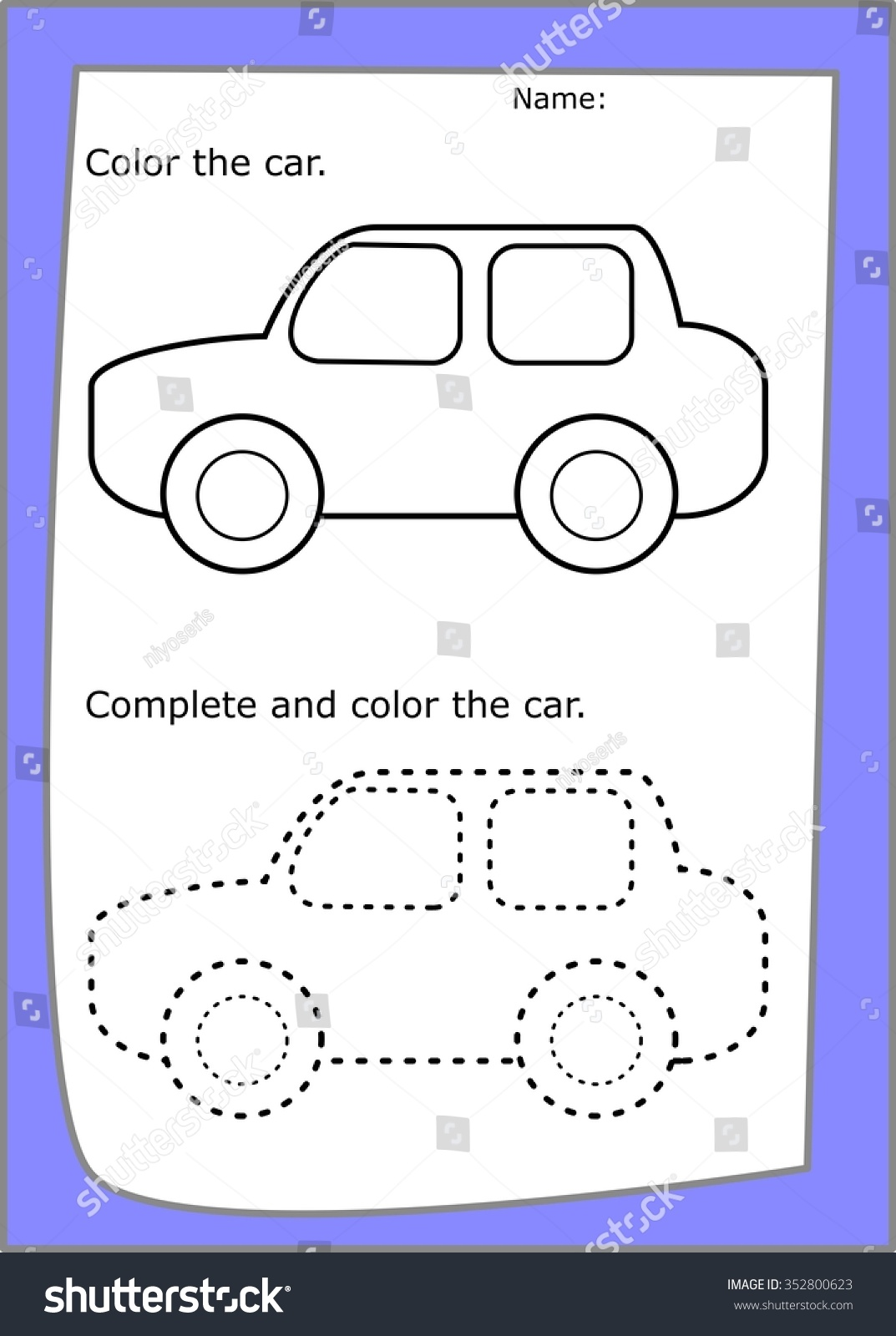 Car Coloring Worksheet Dotted Lines Stock Illustration