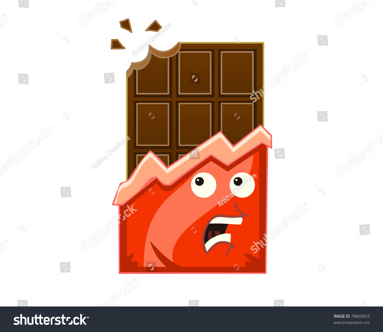 Cartoon Chocolate Being Bitten Stock Photo 79859953