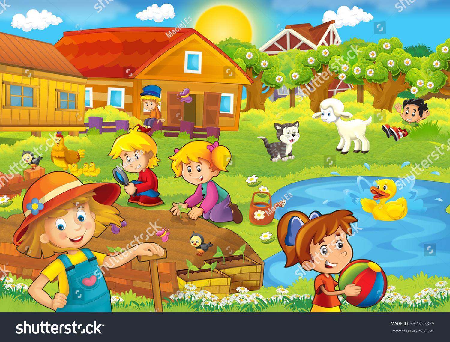 Cartoon Farm Scene Kids Illustration Children Stock