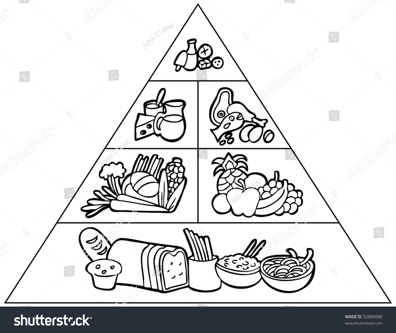 Cartoon Food Pyramid Line Art Stock Illustration