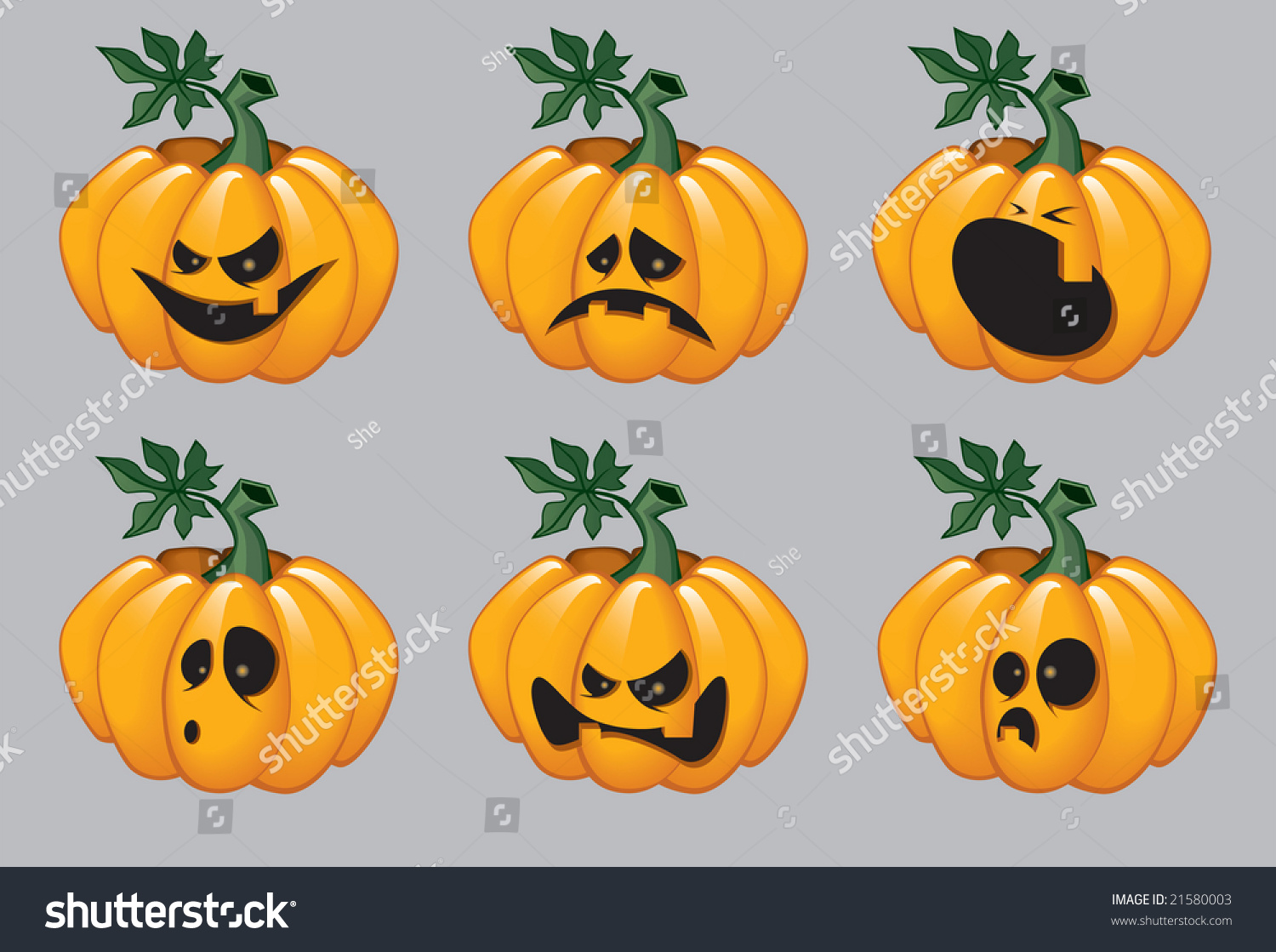 Cartoon Halloween Pumpkins With Emotions On Their Faces
