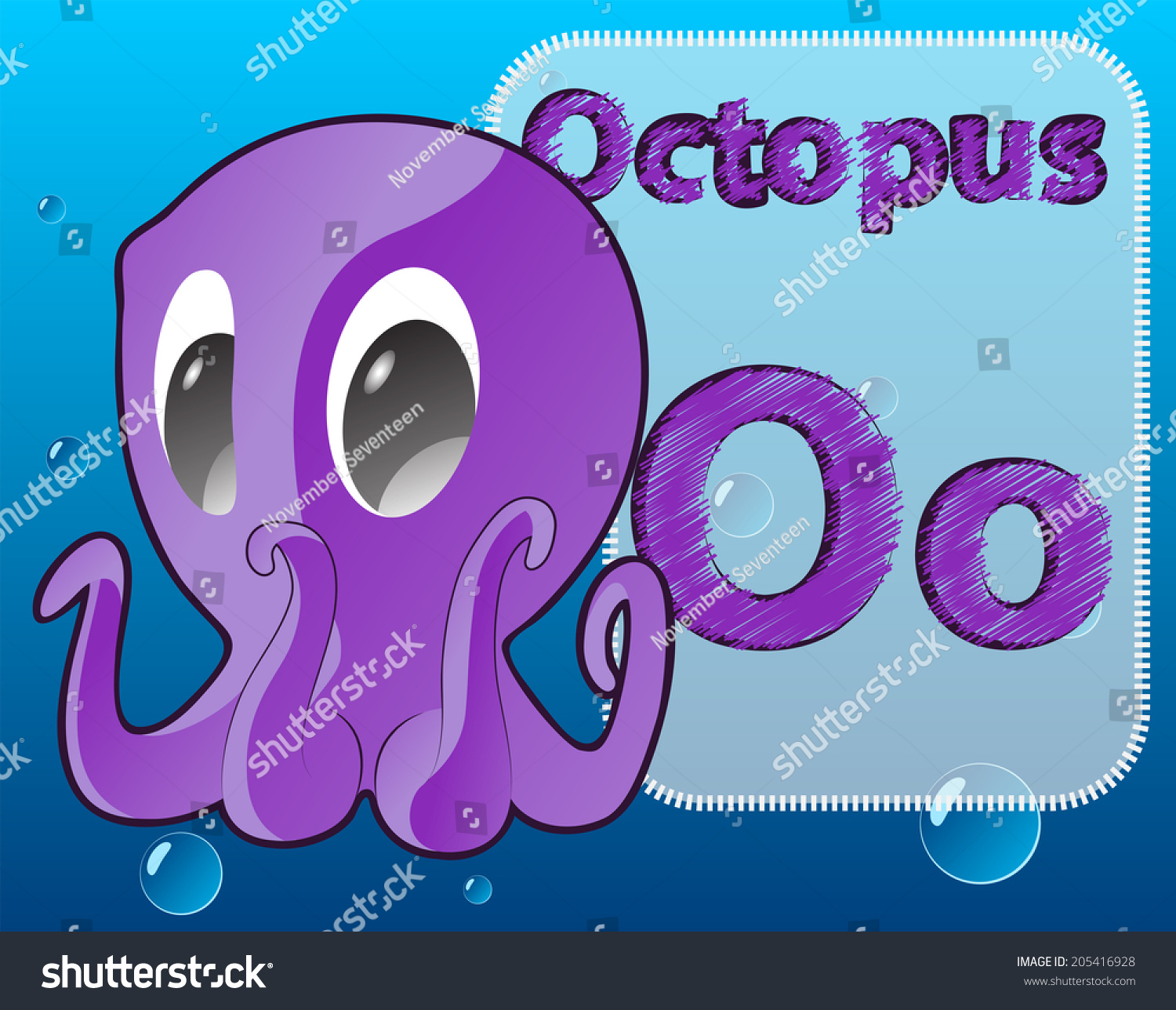 Cartoon Octopus Alphabet Zoo Card For Kids To Learn The
