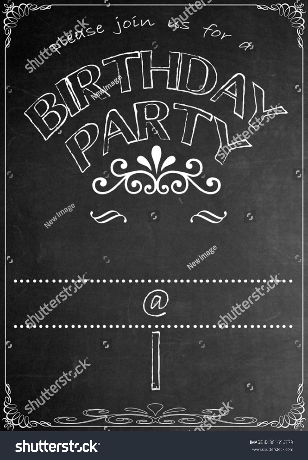 https www shutterstock com image illustration chalkboard birthday party invitation blackboard celebration 381656779