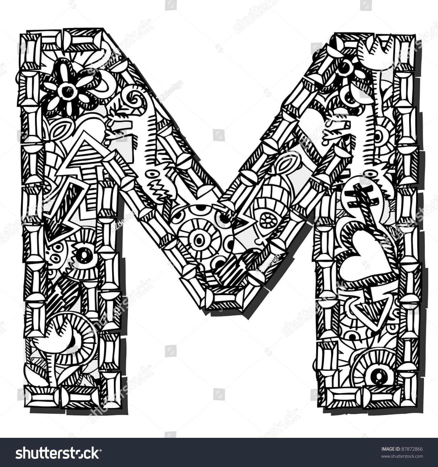 Childlike Doodle Abc Crazy Letter M Stock Illustration