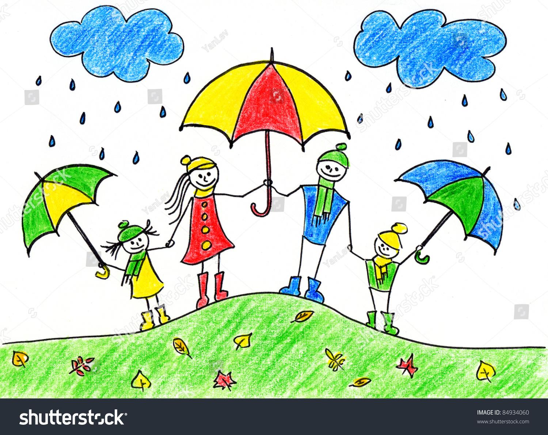 Childrens Drawing Happy Family Umbrellas Autumn Stock