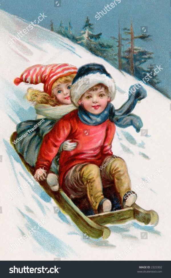 Children Sledding 1911 Vintage Illustration Stock Photo ...