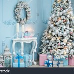 Christmas Tree Blue Pink Gifts White Stock Photo Edit Now 1236081001