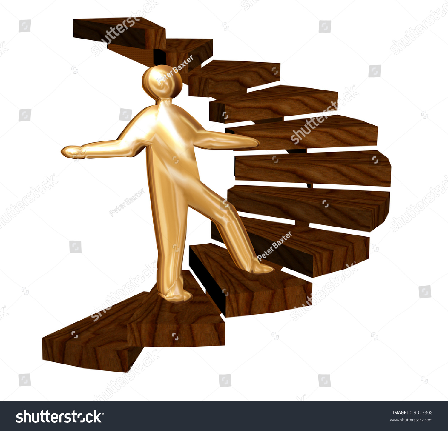 Climbing The Ladder Of Success A Golden Person Stock Photo