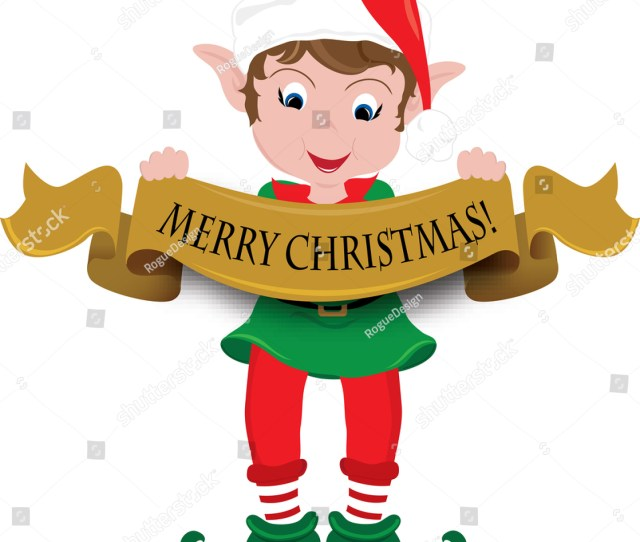 Clipart Image Of A Cute Little Elf Holding A Merry Christmas Banner