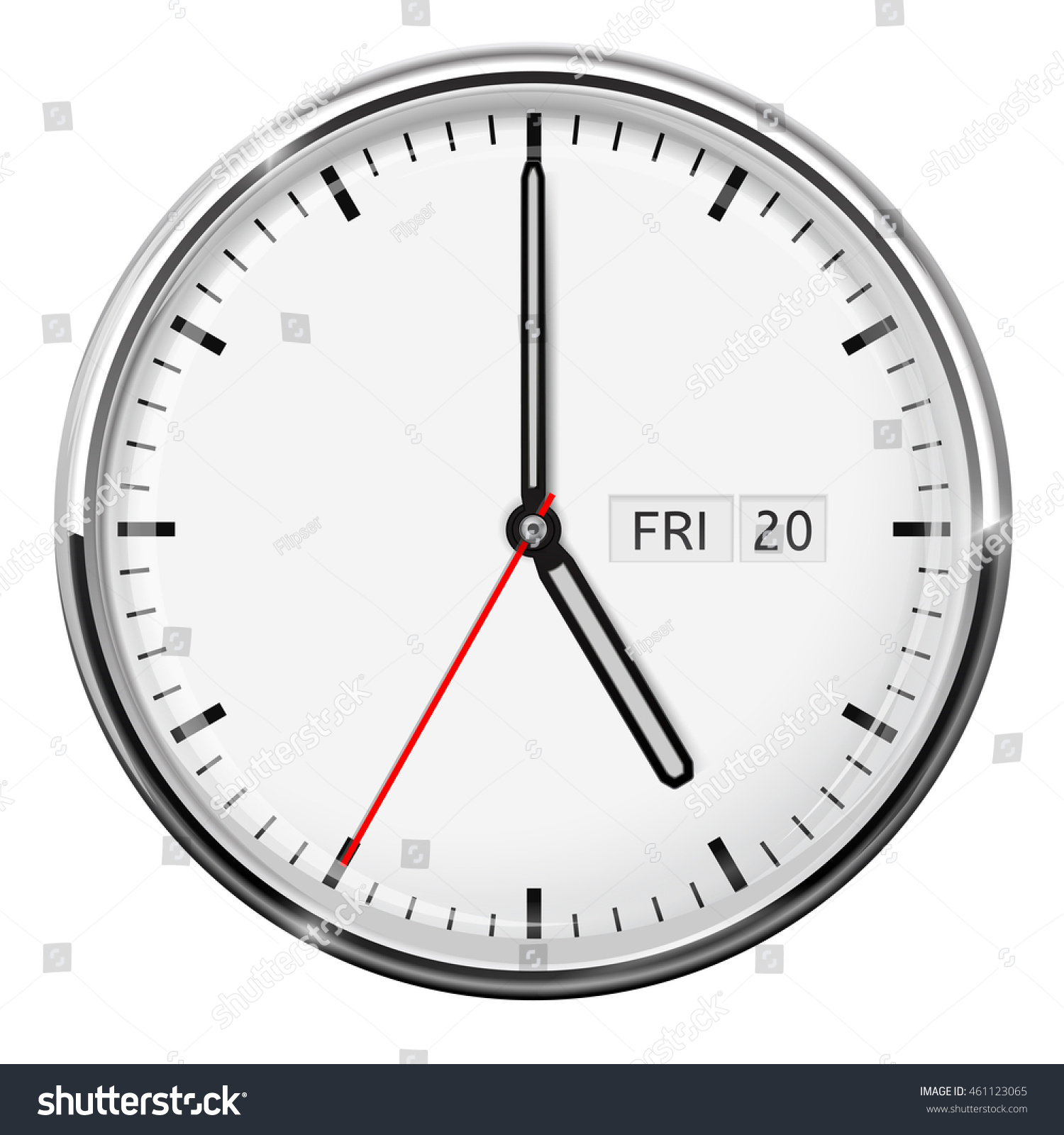Oclock Full Version Clock Five Oclock Illustration