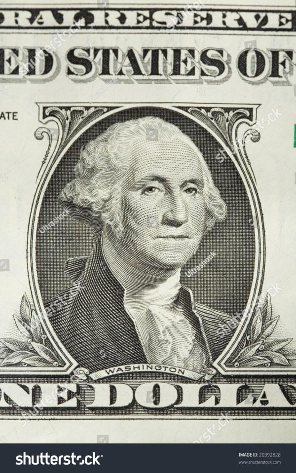 Closeup George Washington On One Dollar Stock Photo ...