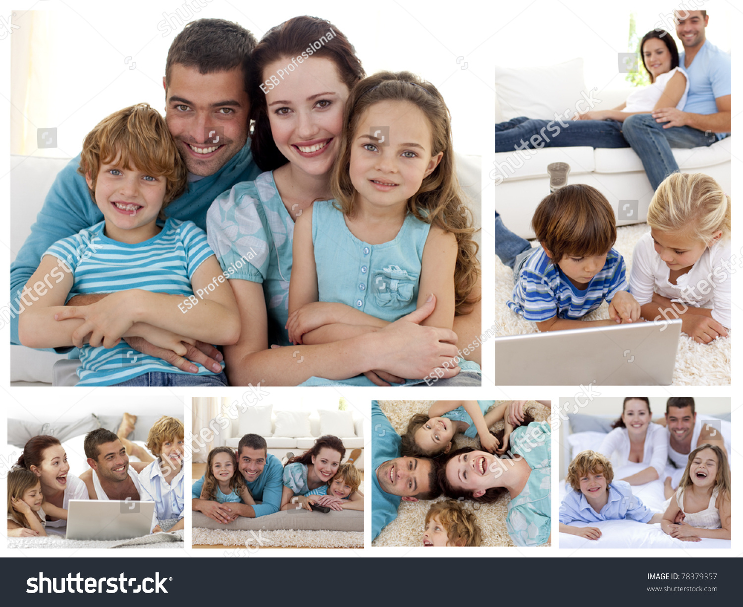 Collage Family Spending Moments Together Home Stock Photo