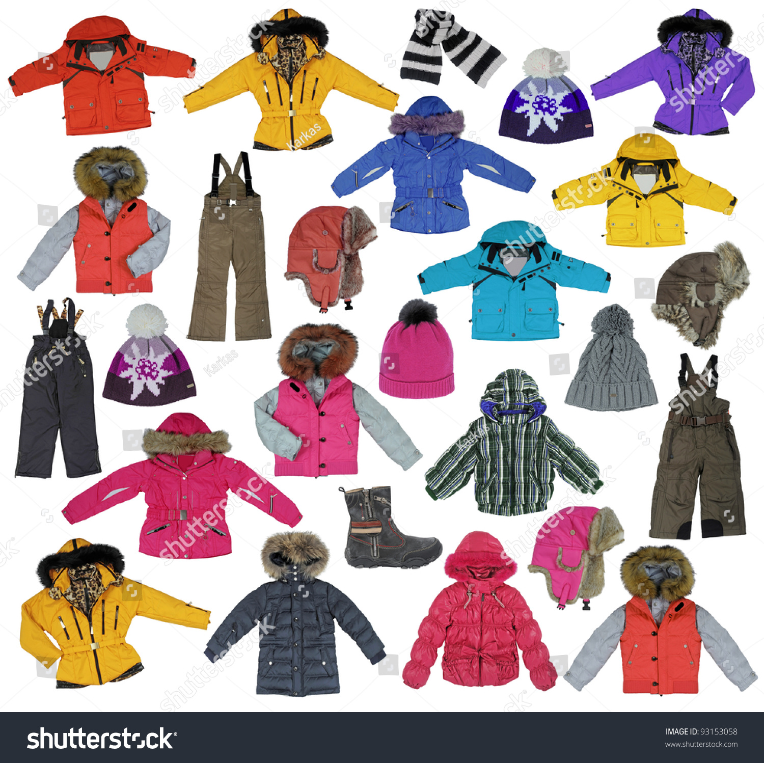 Collection Childrens Winter Clothing Stock Photo