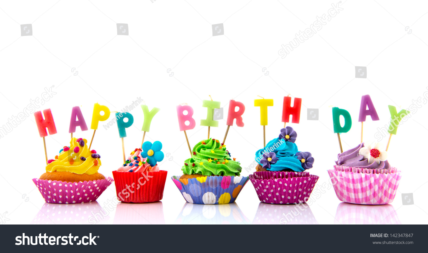 Colorful Cupcakes Happy Birthday Candles Isolated Stock