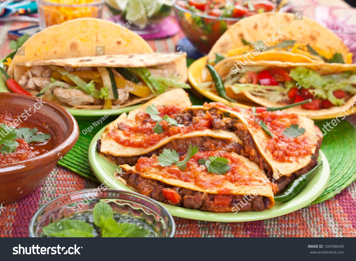Colorful Traditional Mexican Food Dishes Various Stock