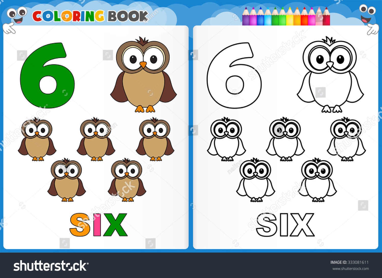 Coloring Page Number Six With Colorful Sample Printable