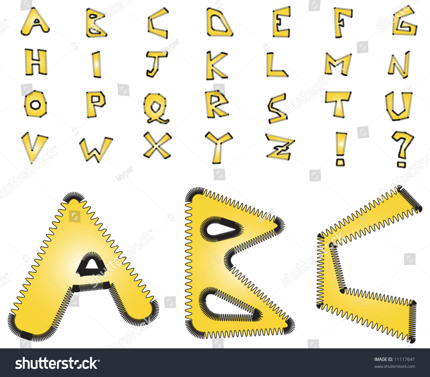 Complete Yellow Alphabet With Zig Zag Electric Style Stock