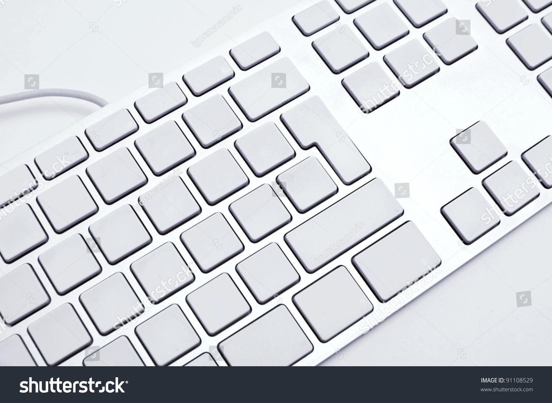 Computer Keyboard Blank Keys Stock Photo