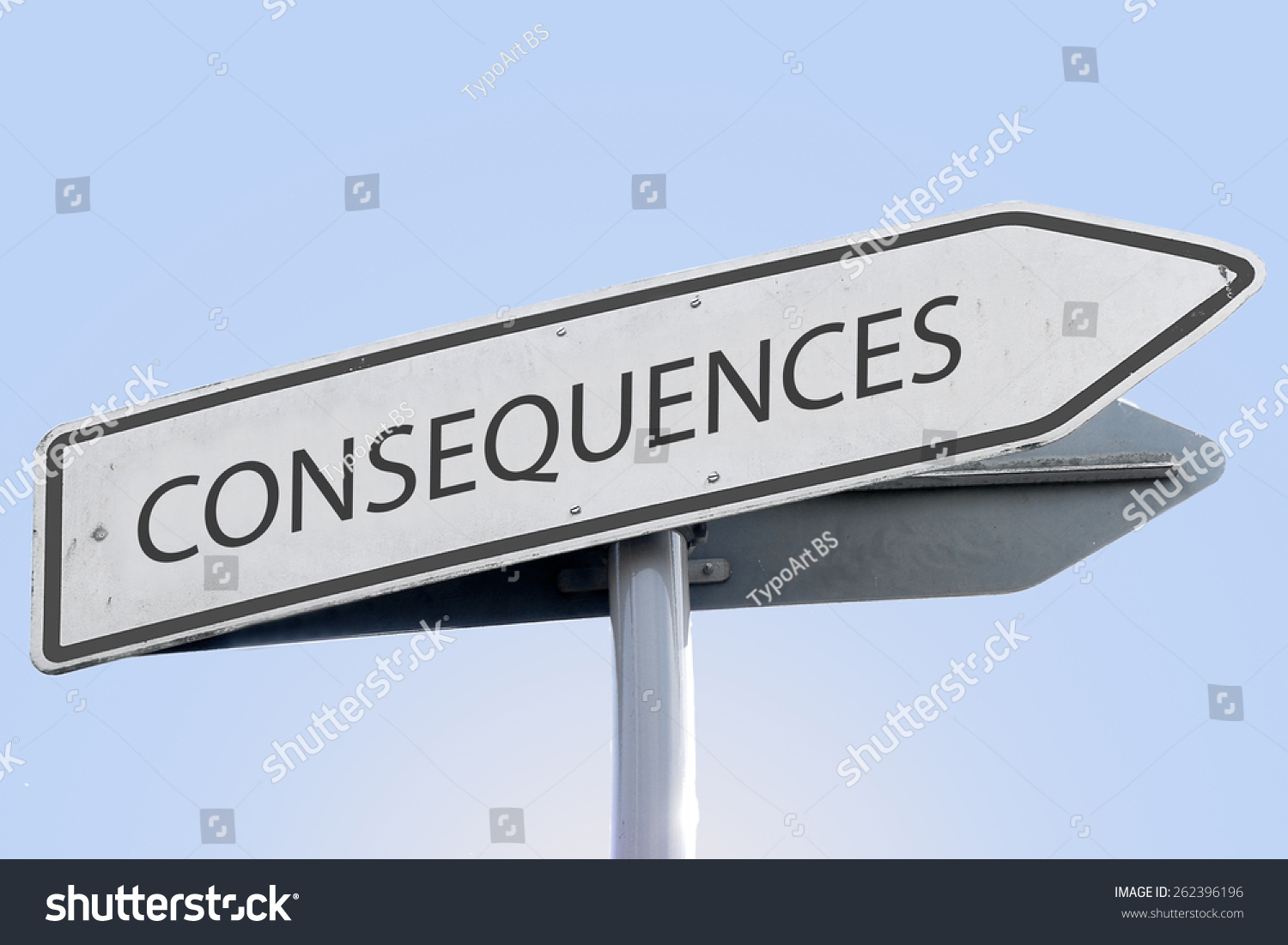 Consequences Word On Road Sign Stock Photo