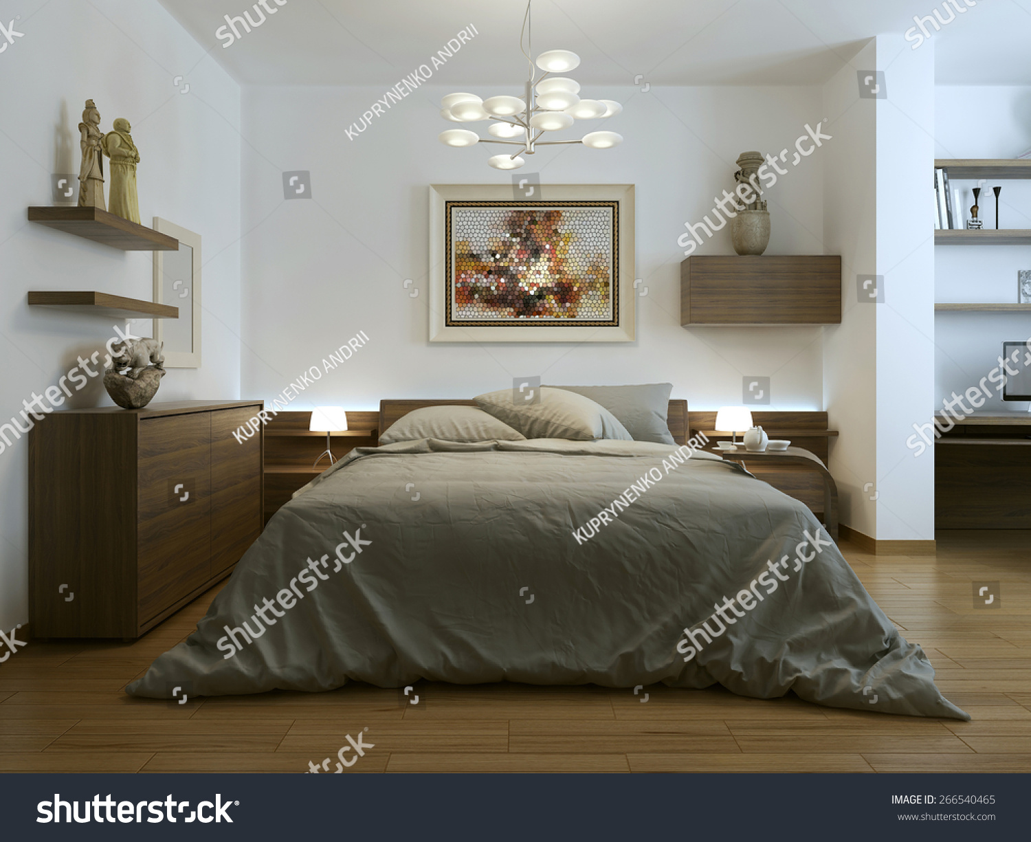 Contemporary Style Bedroom 3d Render Stock Illustration