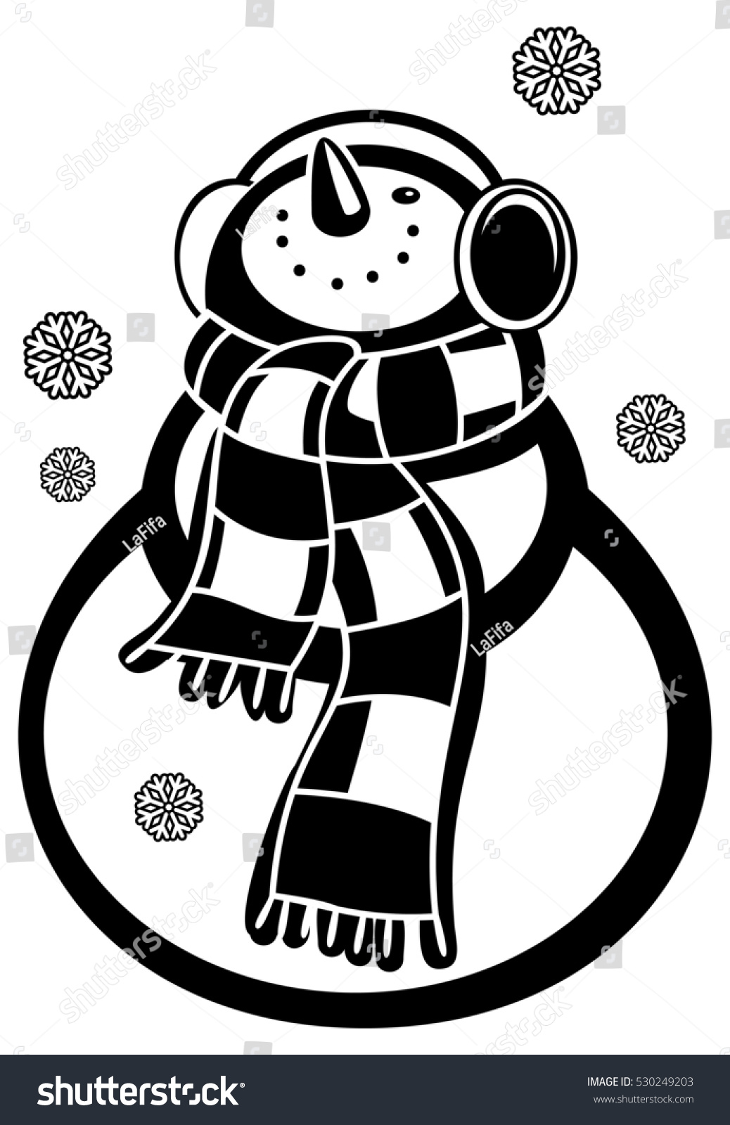 Snowman And Snowflakes Coloring Pages