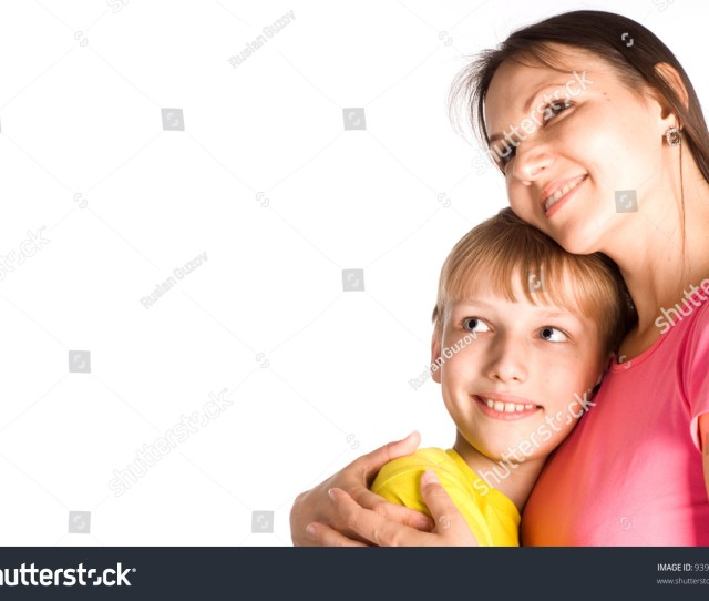 Cute Mom With Her Little Boy On White