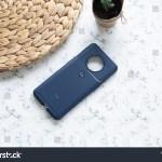 Dark Blue Phone Case On Marble Stock Photo Edit Now 1573061761