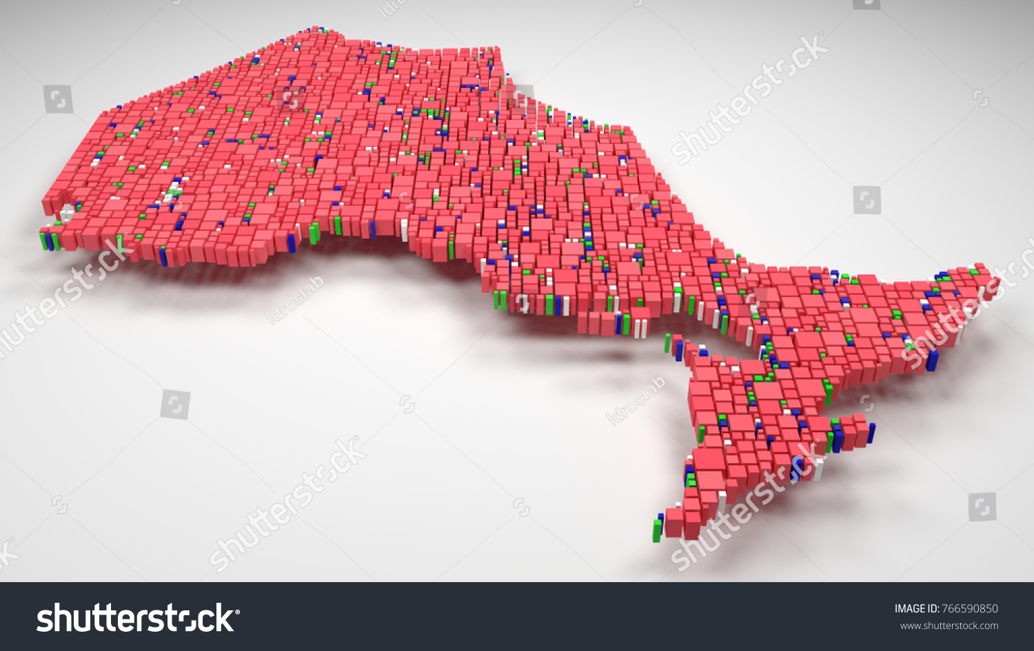 Decorative Map Ontario Canada 3 D Illustration Stock Illustration     Decorative Map of Ontario   Canada   3D illustration rain of little bricks    Flag colors