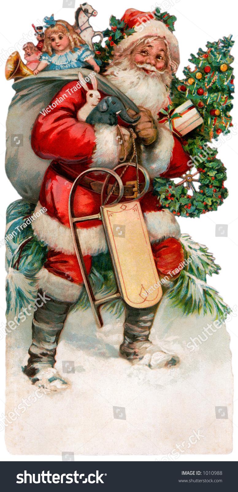 Description Vintage Christmas Illustration Santa Claus
