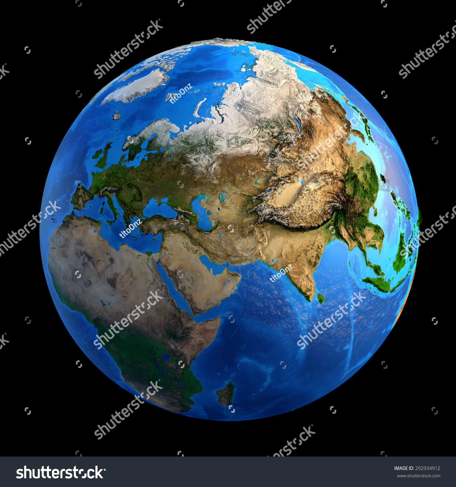 Detailed Picture Earth Landforms Isolated On Stock Photo