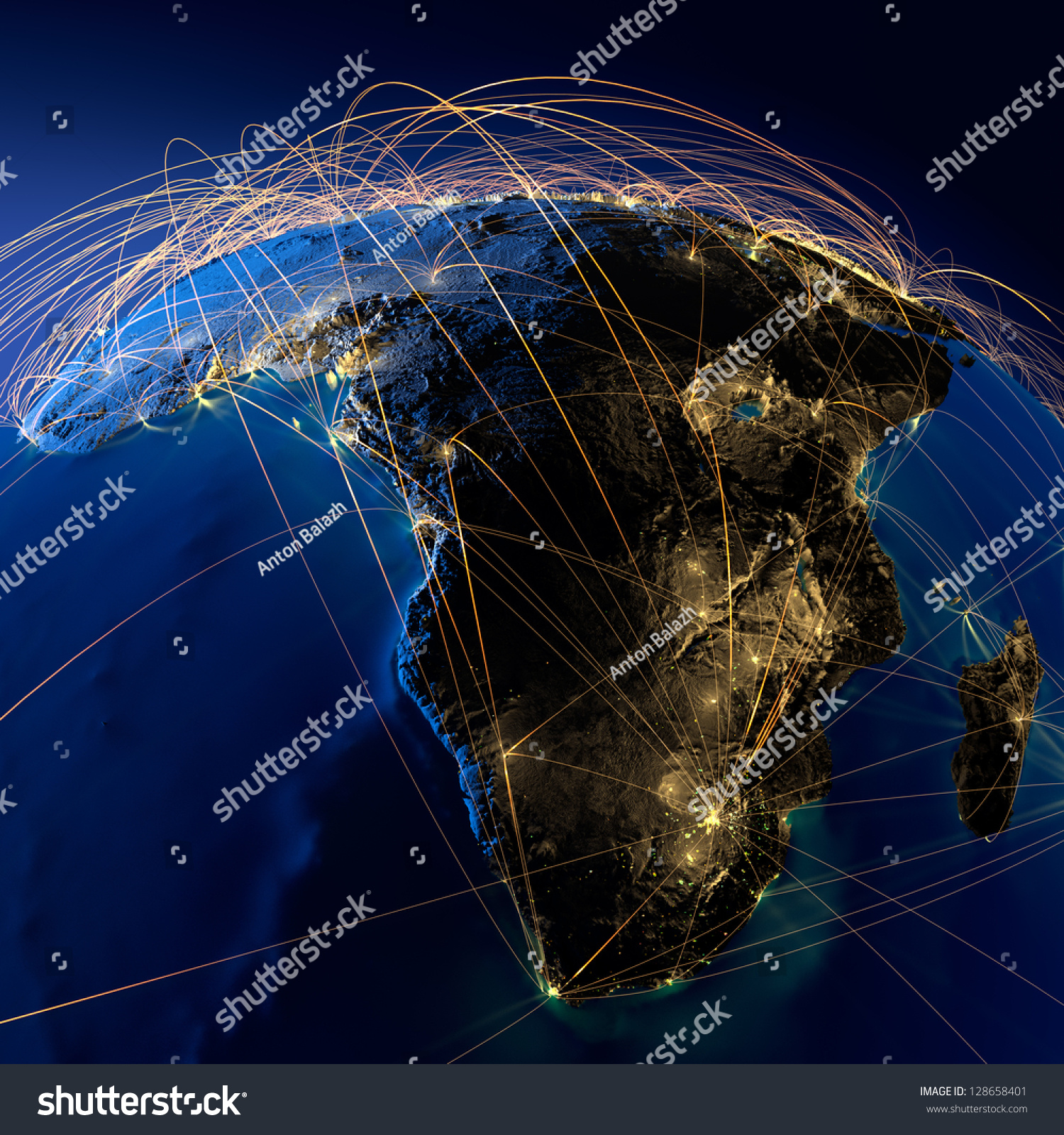 Detailed Planet Earth Night Embossed Continents Stock