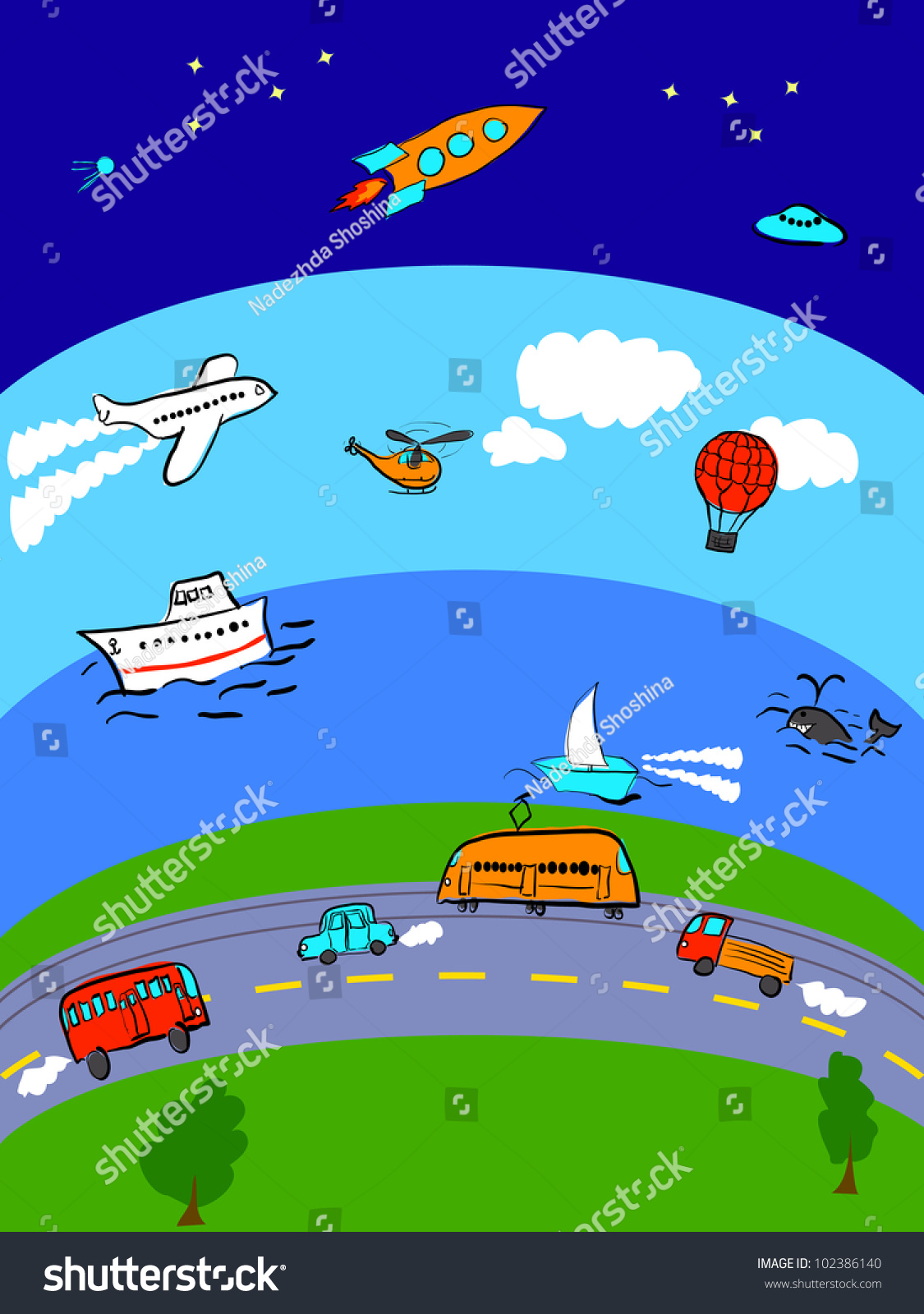 Different Transport Land Sea Air Space Stock Illustration