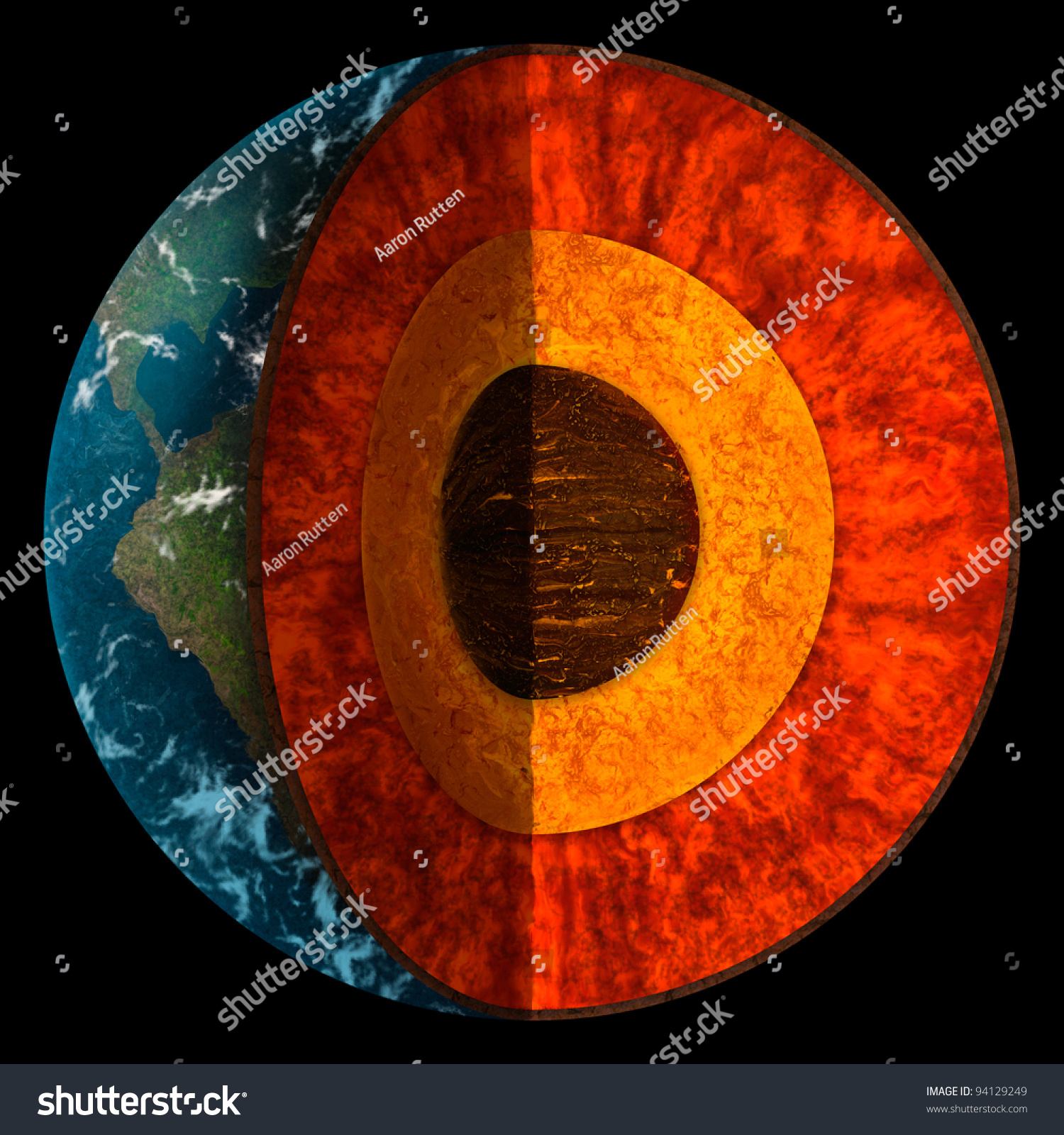 Digital Illustration Of A Cross Section Of Planet Earth
