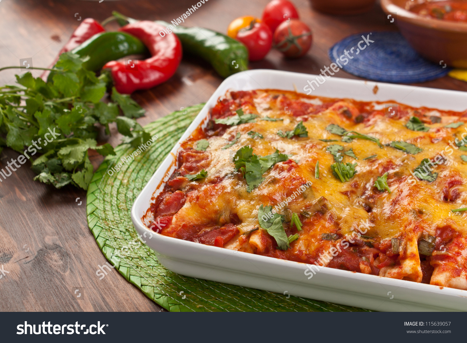 Dish With Traditional Mexican Food Enchiladas Stock Photo