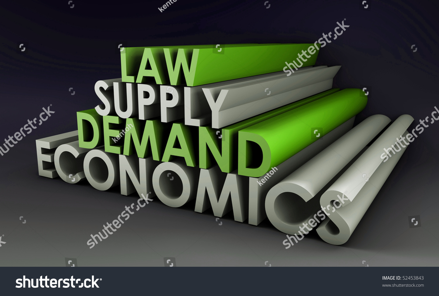 Economics Law Of Supply And Demand Background Stock Photo