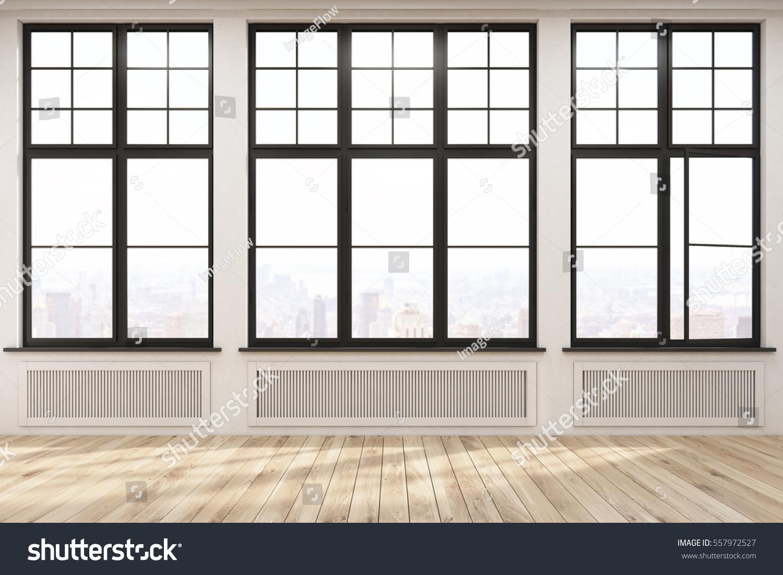 Empty Room Three Large Windows Beige Stock Illustration