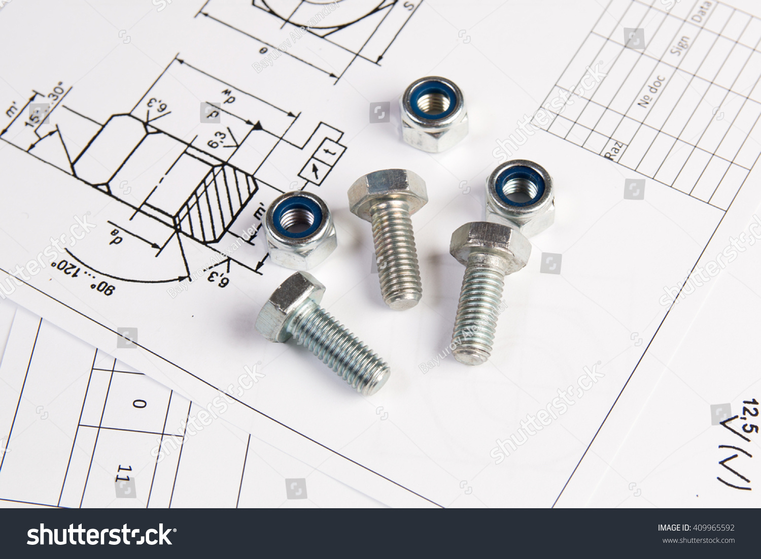 Engineering Drawings Metal Nuts And Bolts Science