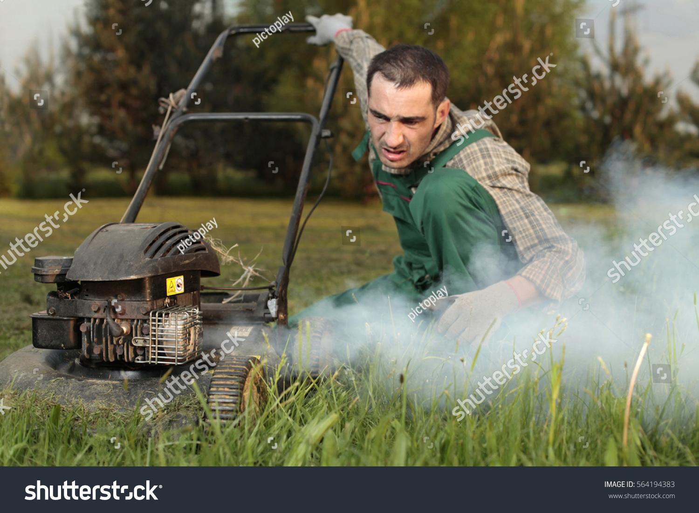 https www shutterstock com image photo exploit old lawn mower cloud exhaust 564194383
