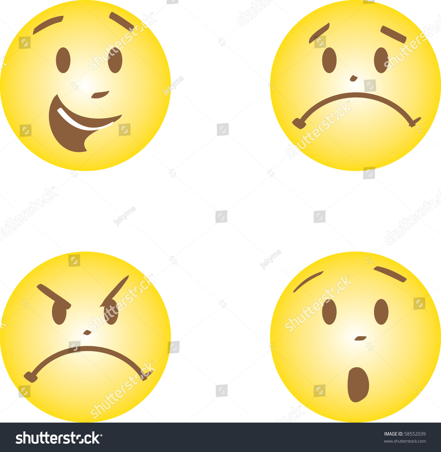 Faces With Happy Anger Sad And Fright Emotions Stock
