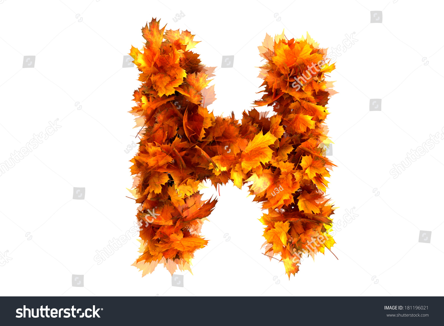 Fall Alphabet Letter H Stock Illustration