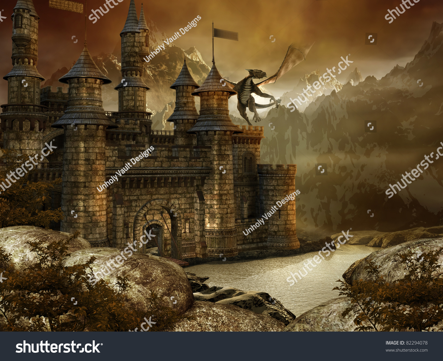 Fantasy Landscape With A Fairytale Castle And A Dragon