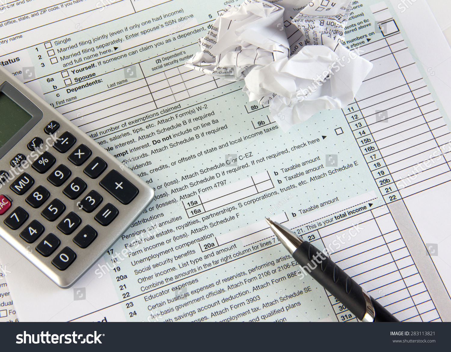 Federal Income Tax Form Crumpled Stock Photo