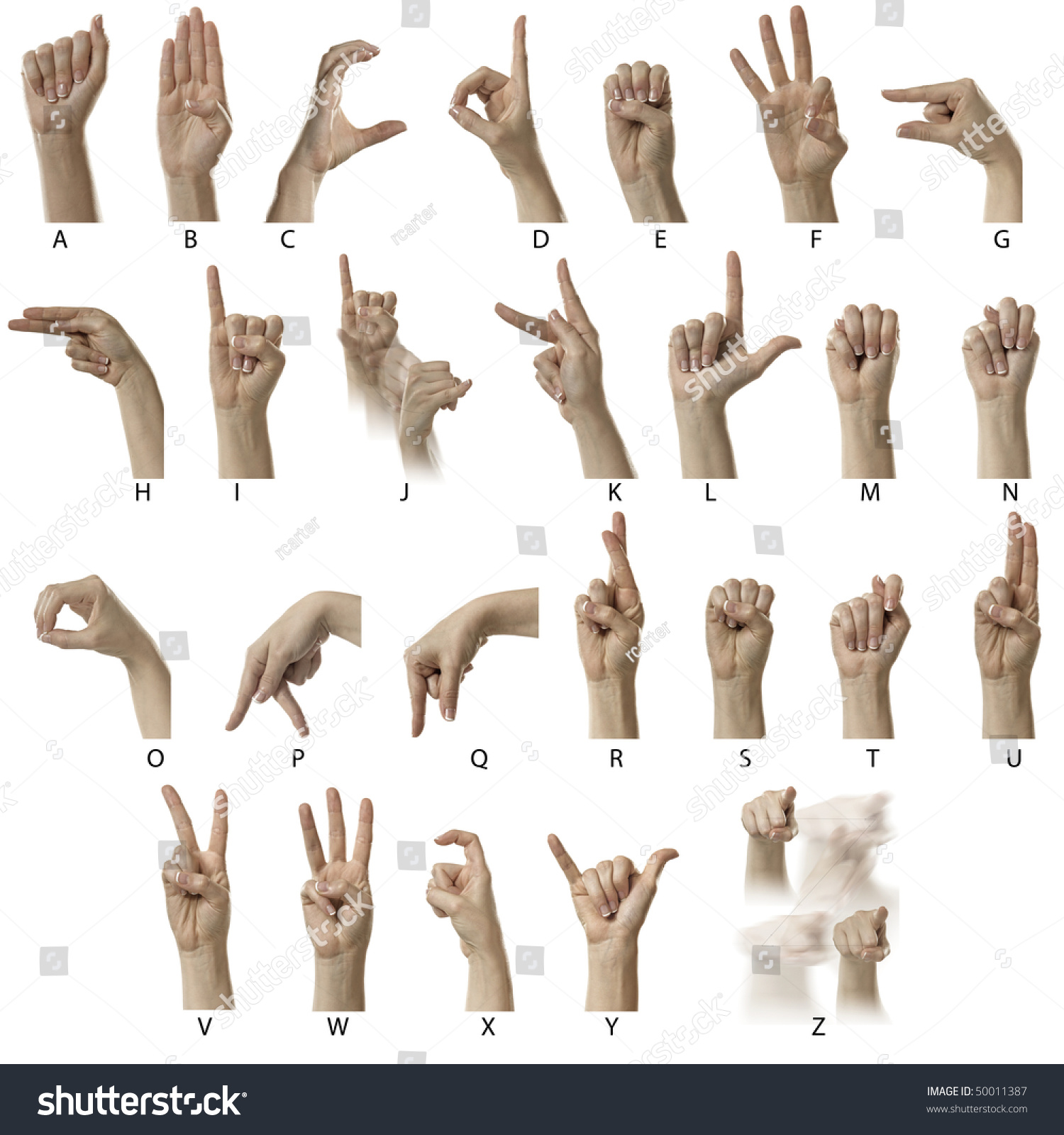 Finger Spelling Alphabet American Sign Language Stock