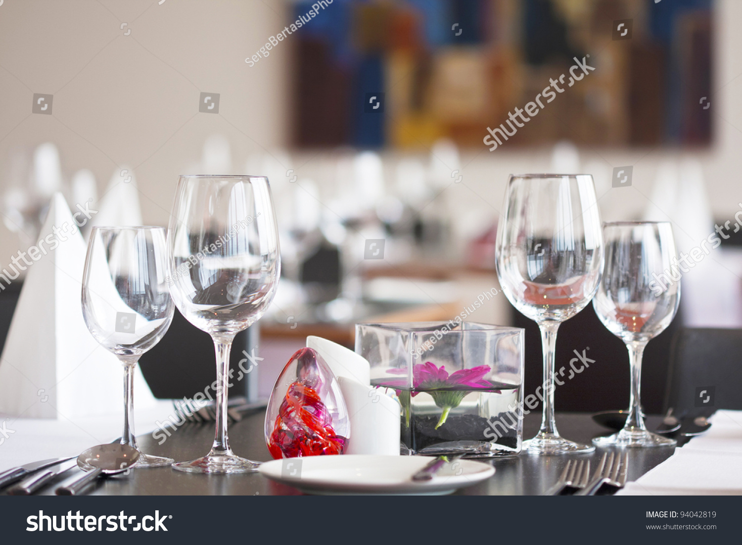 Formal Dining Table Set Flower Luxury Stock Photo 94042819
