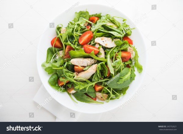 Fresh Salad Chicken Tomato Greens Spinach Stock Photo ...
